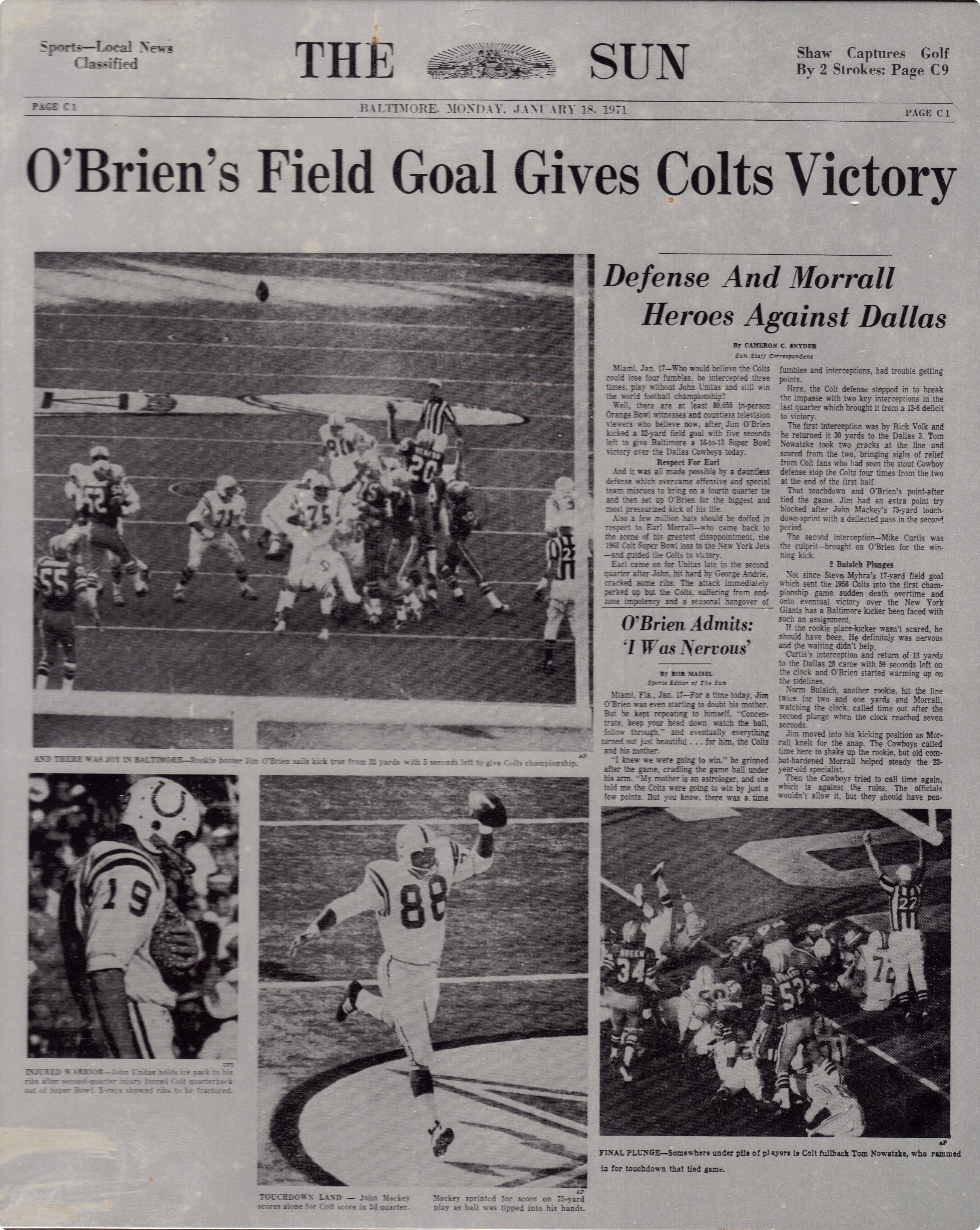 super-bowl-v-front-page - Dallas Cowboys vs. Baltimore Colts - Dallas Cowboys history