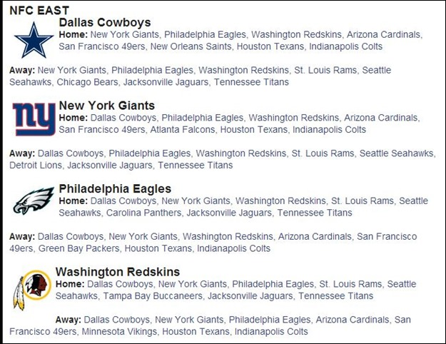 2014 2015 NFL Schedule 2014 2015 - 2014 2015 Dallas Cowboys Schedule 2014 2015 - 2014 2015 Dallas Cowboys Scheduled matchups  2014 2015