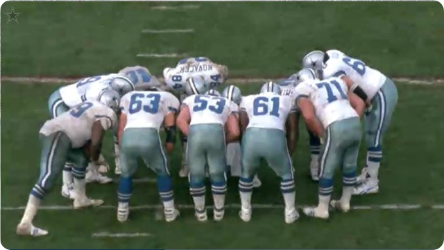 DALLAS COWBOYS HISTORY - The Great Wall of Dallas - Cowboys trenches paved the way for an NFL historic run - Dallas Cowboys offensive linemen huddle