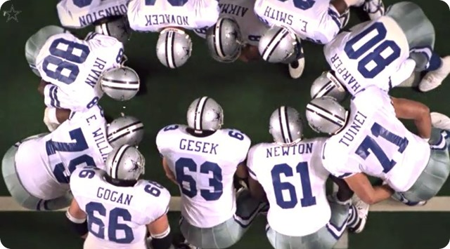 DALLAS COWBOYS HISTORY - The Great Wall of Dallas - Cowboys trenches paved the way for an NFL historic run - 1990's Dallas Cowboys offensive lineman huddle