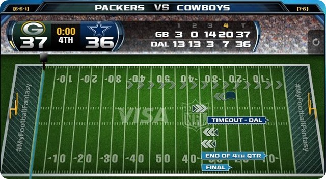 gametrax - green bay packers vs. dallas cowboys - 2013-2014 Dallas Cowboys schedule - dallas cowboys vs. green bay packers - Dallas Cowboys schedule 2013 2014 - GB 37 DAL 36