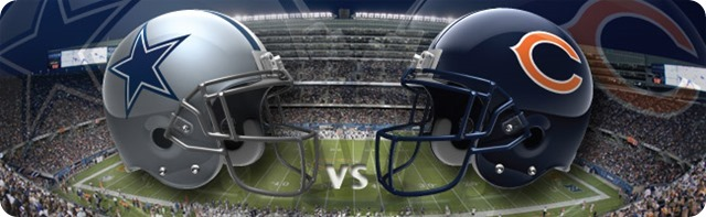 NFL MNF GAMEDAY RESOURCES - 2013-2014 Dallas Cowboys vs. Chicago Bears - Monday Night Football - Bears Cowboys helmet to helmet