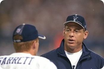 FLASHBACK 2005 - Troy Aikman's hand in Jason Garrett-Scott Linehan relationship - Dallas Cowboys quarterbacks Troy Aikman and Jason Garrett The Boys Are Back website 2014
