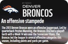 GAMEDAY RESOURCES - Denver Broncos - 2013 2014 NFL Playoffs 2013 2014 Divisional Round