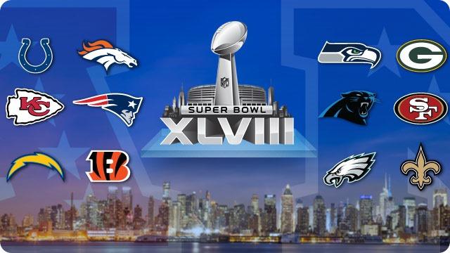 GAMEDAY RESOURCES - Superbowl XLVIII - Super Bowl 48 - Super Bowl 2013 2014 - 12 teams