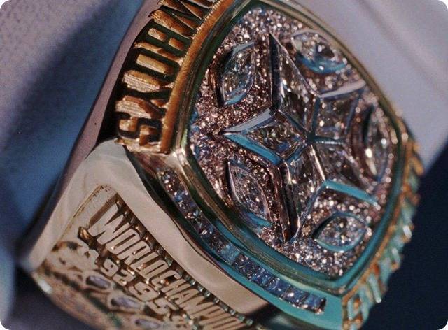 Dallas Cowboys Super Bowl XXX ring - closeup