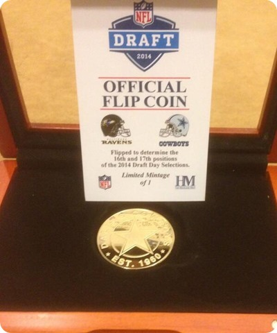 Official NFL Draft 2014 Dallas Cowboys Baltimore Ravens flip coin