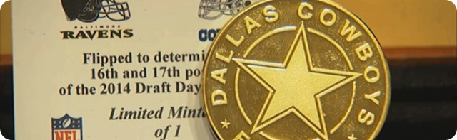 ROAD TO 2014 NFL DRAFT - Dallas Cowboys win coin toss for 16th pick - Leagues pecking order officially set
