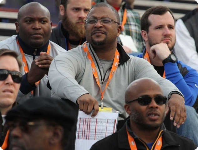 DALLAS COWBOYS COACHES ROSTER - Will McClay overlooking the North practice at 2014 Senior Bowl