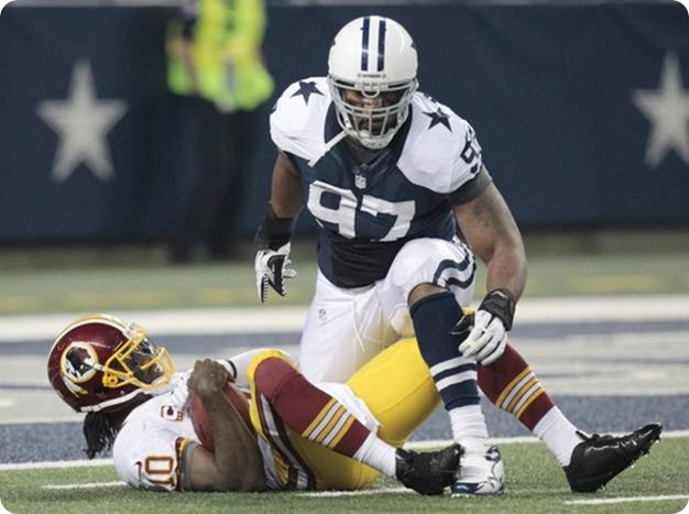 dallas cowboys defensive end jason hatcher (97) sacks washington redskins quarterback robert griffin iii - the boys are back blog