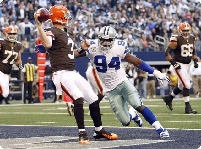 dallas cowboys outside linebacker demarcus ware (94) pressures cleveland browns quarterback brandon weeden - the boys are back blog