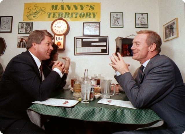 jerry jones sits with then university of miami coach jimmy johnson at a dallas restaurant. jones would hire johnson to replace tom landry soon after - the boys are back blog