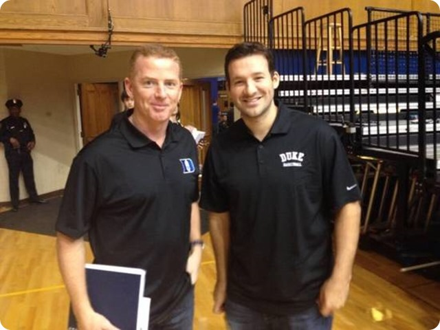 OFFSEASON HOOPS AND HOOPLA - Jason Garrett and Tony Romo spotted in Durham this weekend - Romo's back rehab is on schedule