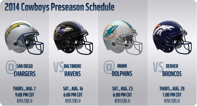 2014 Dallas Cowboys Preseason Schedule 2014 released by the NFL - Dallas Cowboys preseason schedule - The Boys Are Back website