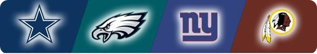 NFC East flag - DAL NYG WAS PHI logos - The Boys Are Back website 2014