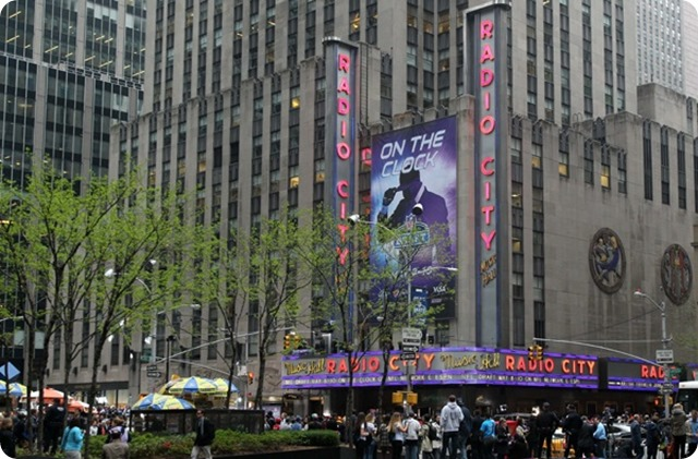 May 8, 2014; New York, NY, USA; General view of Radio City Music Hall from across 6th Avenue before the start of the 2014 NFL draft. Mandatory Credit: Brad Penner-USA TODAY Sports