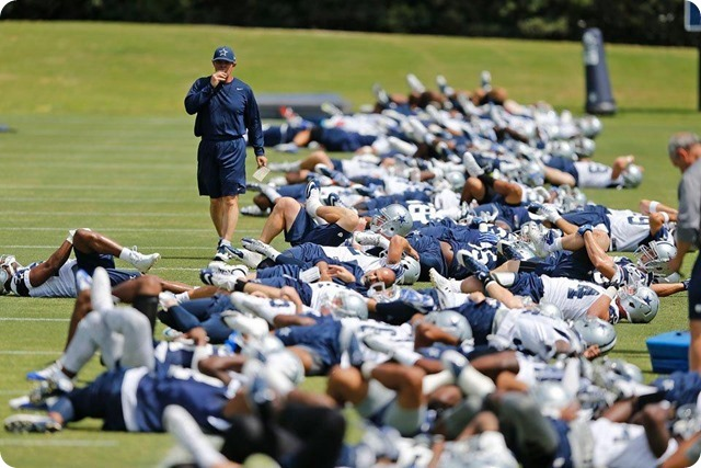 THE BOYS ARE BACK TO WORK - Sean Lee injury key topic at Jason Garrett's press conference - 2014 Dallas Cowboys OTA's Report - Warmups