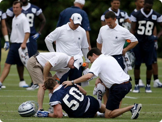 THE BOYS ARE BACK TO WORK - Sean Lee injury key topic at Jason Garrett's press conference - 2014 Dallas Cowboys OTA's Report - Lee injury