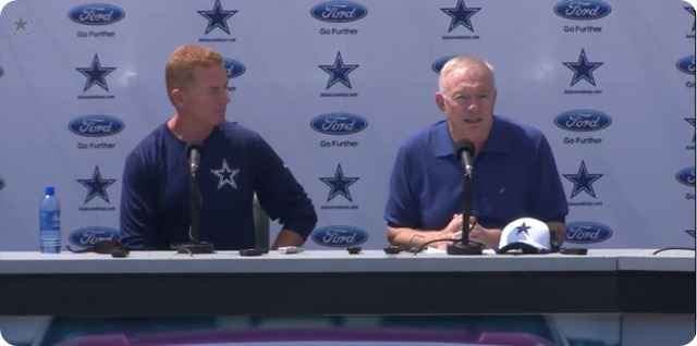 COWBOYS CAMP COVERAGE - Dallas Cowboys opening press conference with Jason Garrett and Jerry Jones - 2014 NFL Training Camp Oxnard, California