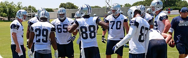 DALLAS COWBOYS TRAINING CAMP - 'Boys unite for player-organized conditioning test - Players building team identity - Dallas Cowboys 2014-2015