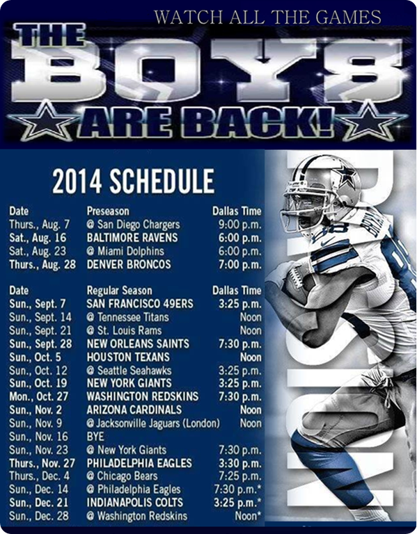 3fdc46f6bee The Boys Are Back 2014-2015 Dallas Cowboys Schedule - Dallas Cowboys 2014  schedule -