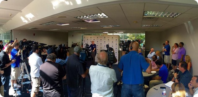 Jason Garrett press conference - 2015 Dallas Cowboys OTAs - Media packed - The Boys Are Back 2015