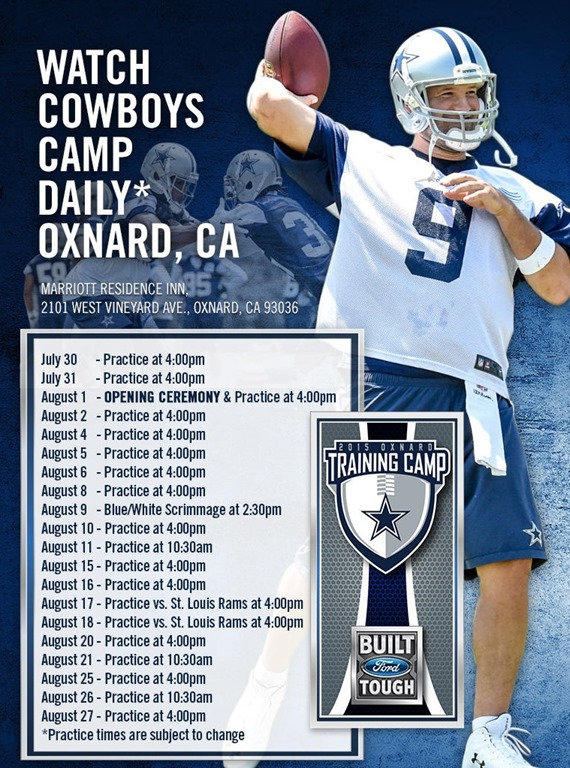 2015-2016 Dallas Cowboys Training Camp schedule - The Boys Are Back website  2015 9d5baba5b