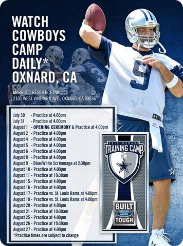 2015-2016 Dallas Cowboys Training Camp schedule - The Boys Are Back website 2015
