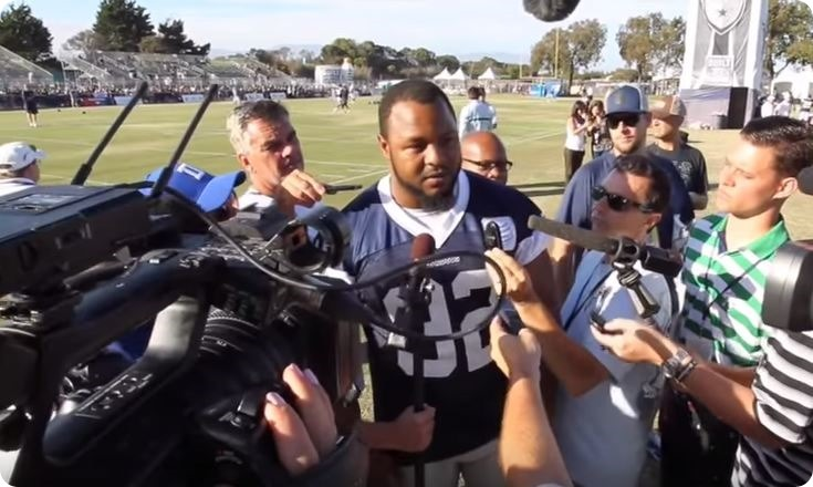 BACK IN THE SADDLE - Team adjusts sack leader salary - DE Jeremy Mincey back with the 'boys - 2015-2016 Dallas Cowboys training camp